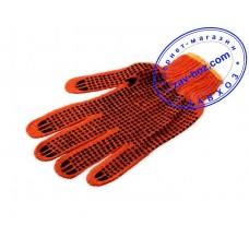 Перчатки х/б с ПВХ точкой, цвет оранжевый